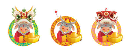 Cow personality. Red cheongsam dress. Bull zodiac symbol of the year 2021. Chinese New Year character design concept. Year of the ox. gestures and smiling. Cute cartoon style. Cow holding gold. Vector Illustration