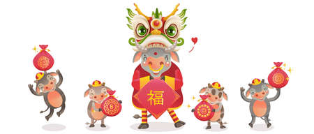 Cow personality. Cow 2021 holding and jumping. Red cheongsam dress. Bull zodiac symbol of the year 2021. Chinese New Year character design concept. Year of the ox. gestures and smiling.  vector Ilustração