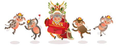Cow personality. Cow 2021 holding and jumping. Red cheongsam dress. Bull zodiac symbol of the year 2021. Chinese New Year character design concept. Year of the ox. gestures and smiling.  vector 矢量图像