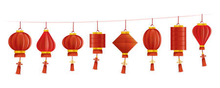 Chinese style lanterns set. vector