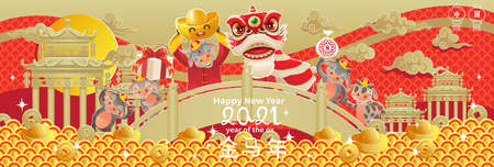 Chinese New Year 2021 greeting card. Year of the ox. Frame and pattern in ancient Chinese style. Golden pool and lotus flower. Chinese translation: Happy new year and happiness. vector illustration. Ilustração