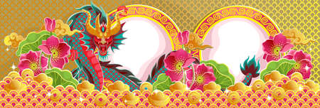Chinese New Year 2021 greeting card. Year of the ox. Frame and pattern in ancient Chinese style. Golden pool and lotus flower. Chinese translation: Happy new year and happiness illustration. 矢量图像