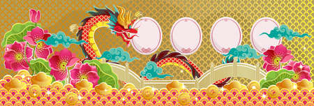 Chinese New Year 2021 greeting card. Year of the ox. Frame and pattern in ancient Chinese style. Golden pool and lotus flower. Chinese translation: Happy new year and happiness illustration. Ilustração
