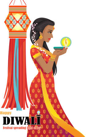 Indian woman holding oil lamp and sparkler with hanging Indian lanterns and sky lanterns. Indian culture Pray for God at the Indian Diwali festivals. Beautiful posture side view of woman.