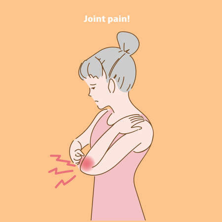 Menstrual cramps woman having elbow pain symptom. girl Joint pain in his hands. Feeling very unwell. Chronic muscle spasms. Nerve over bone problems. Office syndrome concept. Simple line drawing hand.