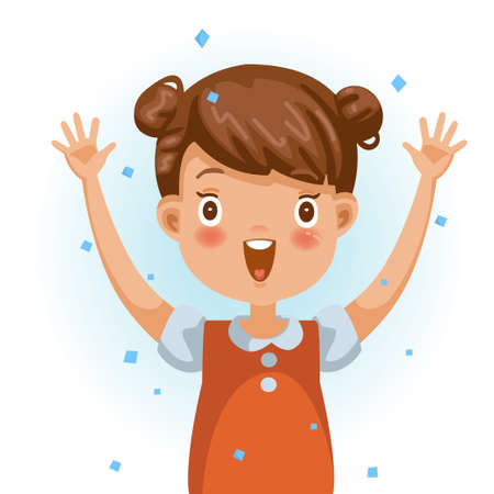 Little girl excited. One person in red shirt raising hands. The face is smiling and open with a very excited mood. Feeling very happy children. Vector illustration isolated white background.