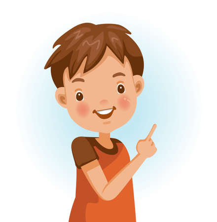 Boy thumbs pointing something. Positive emotions, smiling. Cartoon character vector illustration isolated on white background.