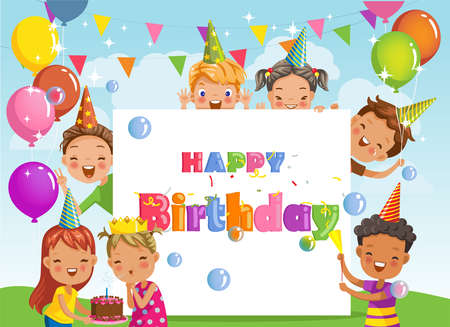 Happy birthday party. kids are playing and laughing, together happily. Design empty space for message and text. Boys and girls party celebration. illustration surprise with gifts from friends.