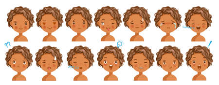 Curly hair face dark skin girl facial emotions set. Child face with different expressions. Variety of emotions children. female heads show a variety of moods, differences. Schoolboy portrait avatars. Illustration