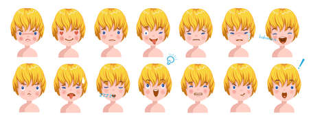 Blond Boy facial emotions set. Child face with different expressions. Variety of emotions children. Male heads show a variety of moods and differences. Schoolboy portrait avatars. Isolated vector.