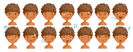 Curly hair face dark skin boy facial emotions set. Child face with different expressions. Variety of emotions children. male heads show a variety of moods, differences. Schoolboy portrait avatars.