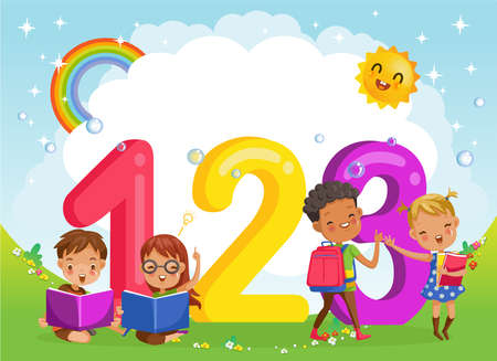 Children with friends and 123 numbers, Design of figures and children's cartoon characters.Vector Illustration Isolated on the background of the sky, the sun and the rainbow across the clouds.