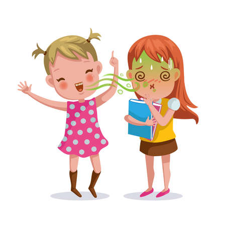 bad breath girl. The little girl feels foul. Bad breath from friends. Cartoon character vector illustration Isolated on  white background. Vettoriali