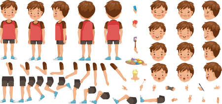 Boys character creation set. Icons with different types of faces and hair style, emotions, front, rear, side view of male person. Moving arms, legs. Vector illustration Vecteurs