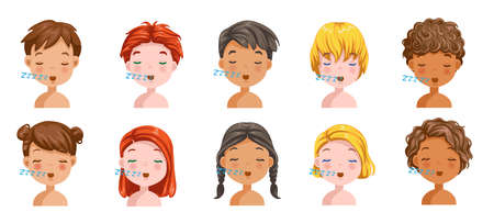 Boys and girls set emotions, feelings be Sleepy, face of the child. Different nationalities are different. Variety of children. Female and male heads. vector of students. Cartoon illustration isolated
