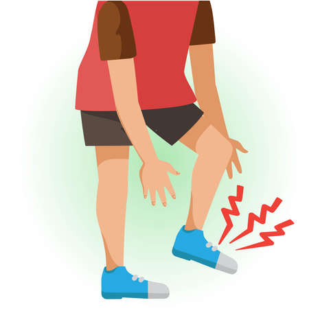 Foot pain or sore. The boy is sick, Sick person and feeling bad. Cartoons showing negative gestures and feelings. The child is a patient. Cartoon vector illustration. Imagens - 154718937