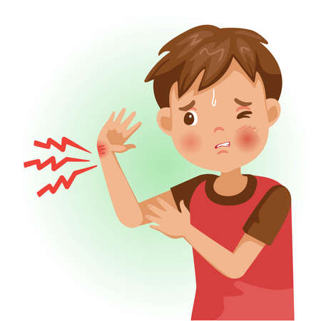 Hand pain or sore. The boy is sick, Sick person and feeling bad. Cartoons showing negative gestures and feelings. The child is a patient. Cartoon vector illustration. Imagens - 154718940