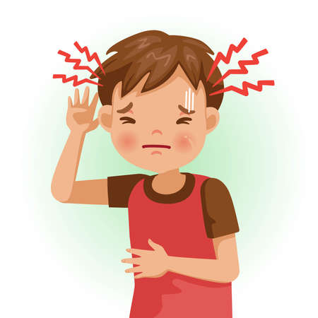 Headache or sore. The boy is sick, Sick person and feeling bad. Cartoons showing negative gestures and feelings. The child is a patient. Cartoon vector illustration.