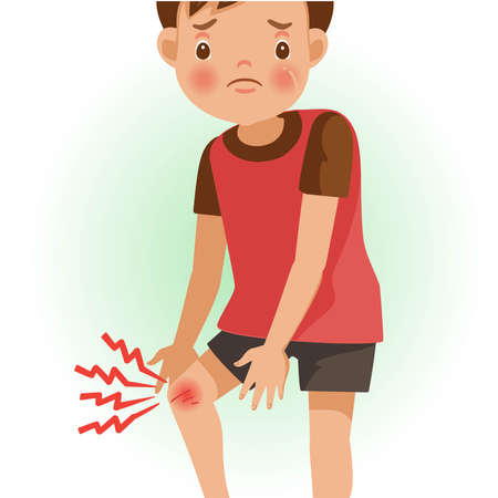 Sore knee or pain. The boy is sick, Sick person and feeling bad. Cartoons showing negative gestures and feelings. The child is a patient. Cartoon vector illustration.