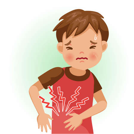 Appendicitis. The boy is sick, Sick person and feeling bad. Cartoons showing negative gestures and feelings. The child is a patient. Cartoon vector illustration. Imagens - 154718945
