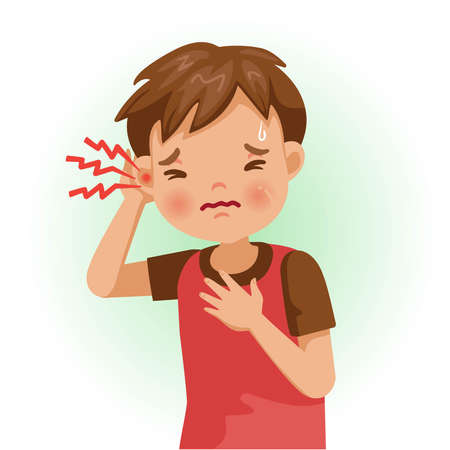 Earache or sore. The boy is sick, Sick person and feeling bad. Cartoons showing negative gestures and feelings. The child is a patient. Cartoon vector illustration. Ilustração