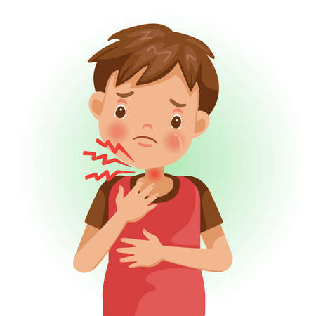 Sore throat or pain. The boy is sick, Sick person and feeling bad. Cartoons showing negative gestures and feelings. The child is a patient. Cartoon vector illustration. Ilustração