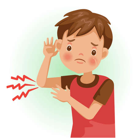 Elbow pain or sore. The boy is sick, Sick person and feeling bad. Cartoons showing negative gestures and feelings. The child is a patient. Cartoon vector illustration.
