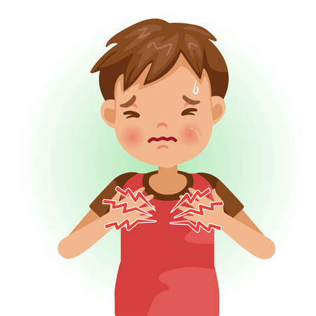 Heartburn or Chest pain. The boy is sick, Sick person and feeling bad. Cartoons showing negative gestures and feelings. The child is a patient. Cartoon vector illustration. Ilustração