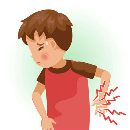 abdominal pains or sore. The boy is sick, Sick person and feeling bad. Cartoons showing negative gestures and feelings. The child is a patient. Cartoon vector illustration.