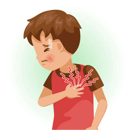 Sore left chest or pain. The boy is sick, Sick person and feeling bad. Cartoons showing negative gestures and feelings. The child is a patient. Cartoon vector illustration.