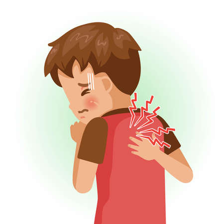 Shoulder pain or sore. The boy is sick, Sick person and feeling bad. Cartoons showing negative gestures and feelings. The child is a patient. Cartoon vector illustration.
