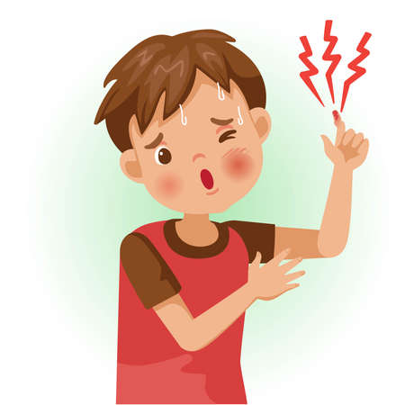 Sore finger or pain. The boy is sick, Sick person and feeling bad. Cartoons showing negative gestures and feelings. The child is a patient. Cartoon vector illustration