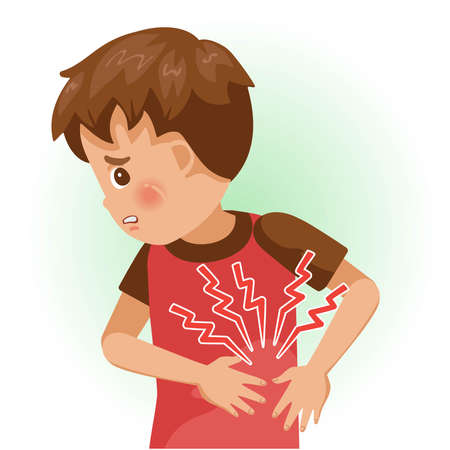 Pain in the left rib or sore. The boy is sick, Sick person and feeling bad. Cartoons showing negative gestures and feelings. The child is a patient. Cartoon vector illustration.