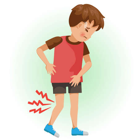 Knee pain or sore. The boy is sick, Sick person and feeling bad. Cartoons showing negative gestures and feelings. The child is a patient. Cartoon vector illustration.