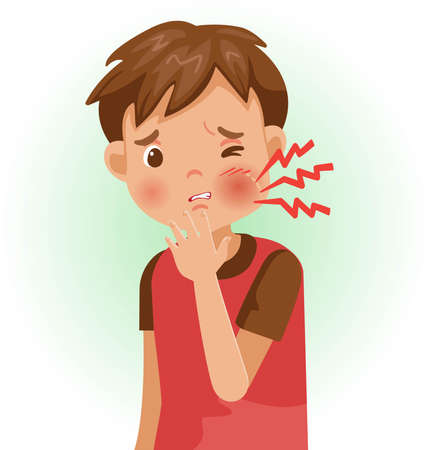 Toothache . The boy is sick, Sick person and feeling bad. Cartoons showing negative gestures and feelings. The child is a patient. Cartoon vector illustration