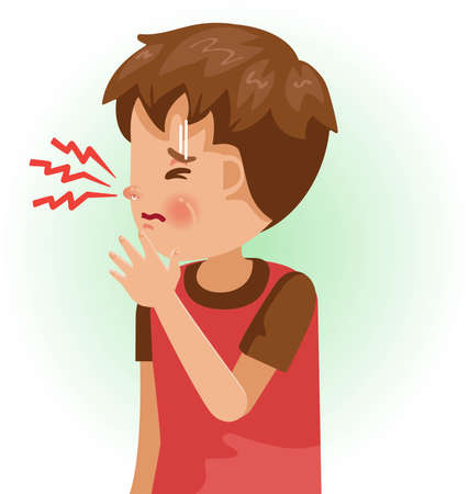 Stuffy Nose. The boy is sick, Sick person and feeling bad. Cartoons showing negative gestures and feelings. The child is a patient. Cartoon vector illustration.