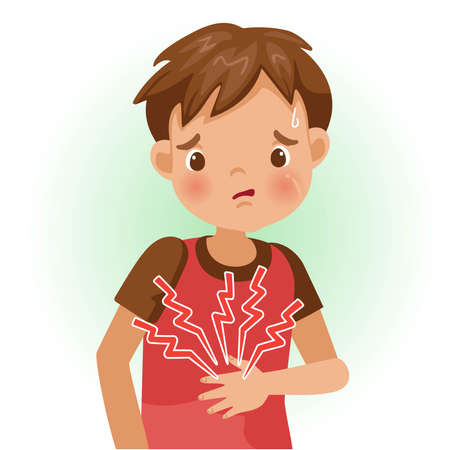 Appendicitis. The boy is sick, Sick person and feeling bad. Cartoons showing negative gestures and feelings. The child is a patient. Cartoon vector illustration.