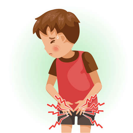 Genital pain. The boy is sick, Sick person and feeling bad. Cartoons showing negative gestures and feelings. The child is a patient. Cartoon vector illustration.