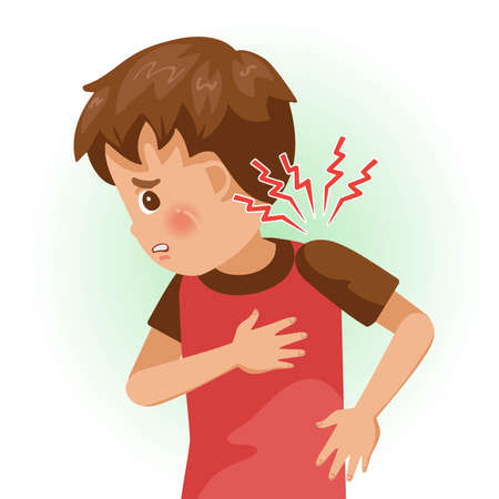 Sore shoulder or shoulder pain. The boy is sick, Sick person and feeling bad. Cartoons showing negative gestures and feelings. The child is a patient. Cartoon vector illustration.