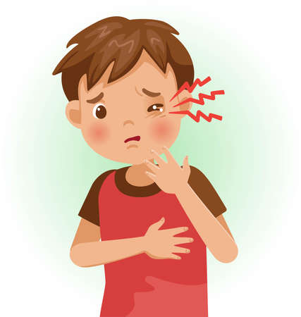 Sore Eyes. The boy is sick, Sick person and feeling bad. Cartoons showing negative gestures and feelings. The child is a patient. Cartoon vector illustration.