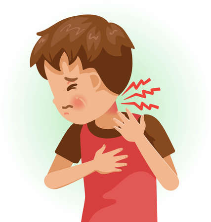 Neck pain or sore. The boy is sick, Sick person and feeling bad. Cartoons showing negative gestures and feelings. The child is a patient. Cartoon vector illustration.
