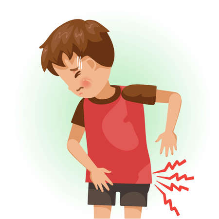 Hip pain or sore. The boy is sick, Sick person and feeling bad. Cartoons showing negative gestures and feelings. The child is a patient. Cartoon vector illustration. Ilustração
