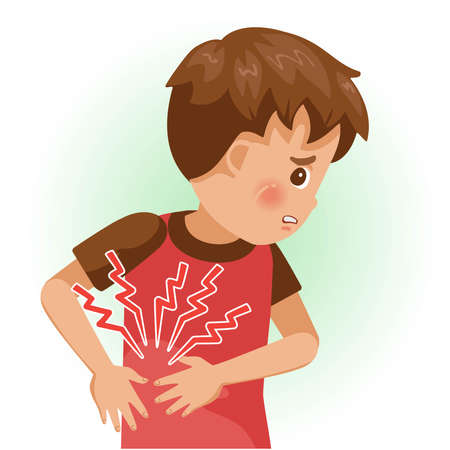 Right rib pain or sore rip. The boy is sick, Sick person and feeling bad. Cartoons showing negative gestures and feelings. The child is a patient. Cartoon vector illustration. Imagens - 154718987