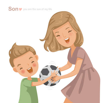 beautiful mom with his little cute son are having fun playing football. Cute cartoon couple fun. Holding a soccer ball in his hand and laughing together,text for Mother's Day, Children's Day, Birthday