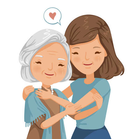 elderly woman with daughter. Women are embracing older women.  affectionately. feeling happy of family relationship. retirement age. Elderly care concepts of motherhood. Vector illustration isolated Imagens - 154718996