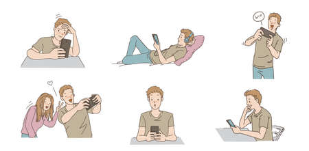Men are using the phone set. Different types of gestures and emotions. Play a game, Listen to music, Text shake, Take pictures, hand drawn vector design illustrations. Ilustração