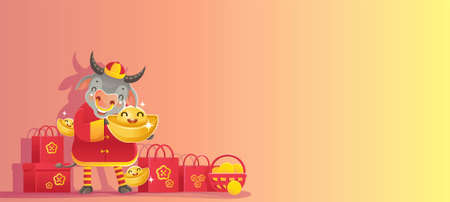 Chinese New Year 2021. New years background. Greeting cards. Banner for Chinese new year. Year of the ox. Space for text or letters. Buy and sell products. Gift voucher. New Year's time concept. Ilustração