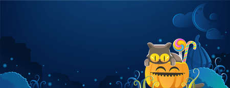 halloween cats. Halloween banner. Halloween backgrounds. candy and pumpkins. Blue sky background. The full moon and twinkling stars. That is wide empty space for your text. Vector illustration.