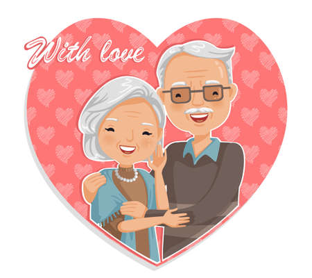 Old man hugged in heart shape, smiling grandfather and grandmother, grandparents day design, elderly day, valentine day, true love concept, longevity.