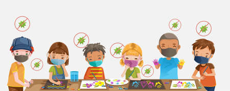 Children drawing and painting. Kids with protection. Group of children wearing medical masks to prevent disease, flu, contaminated air, air pollution, Health care concept. Child care center.